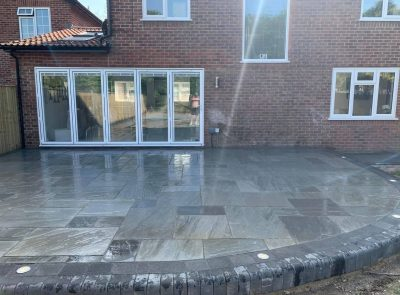 indian sandstone with tobermore charcoal edging
